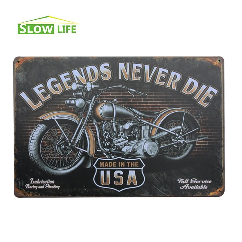 LEGENDS NEVER DIE Motorcyle Retro Vintage Tin Sign 8x12 Metal AD Sign Bar/Pub/Garage Wall Decor Tin Plaque Metal Art Poster