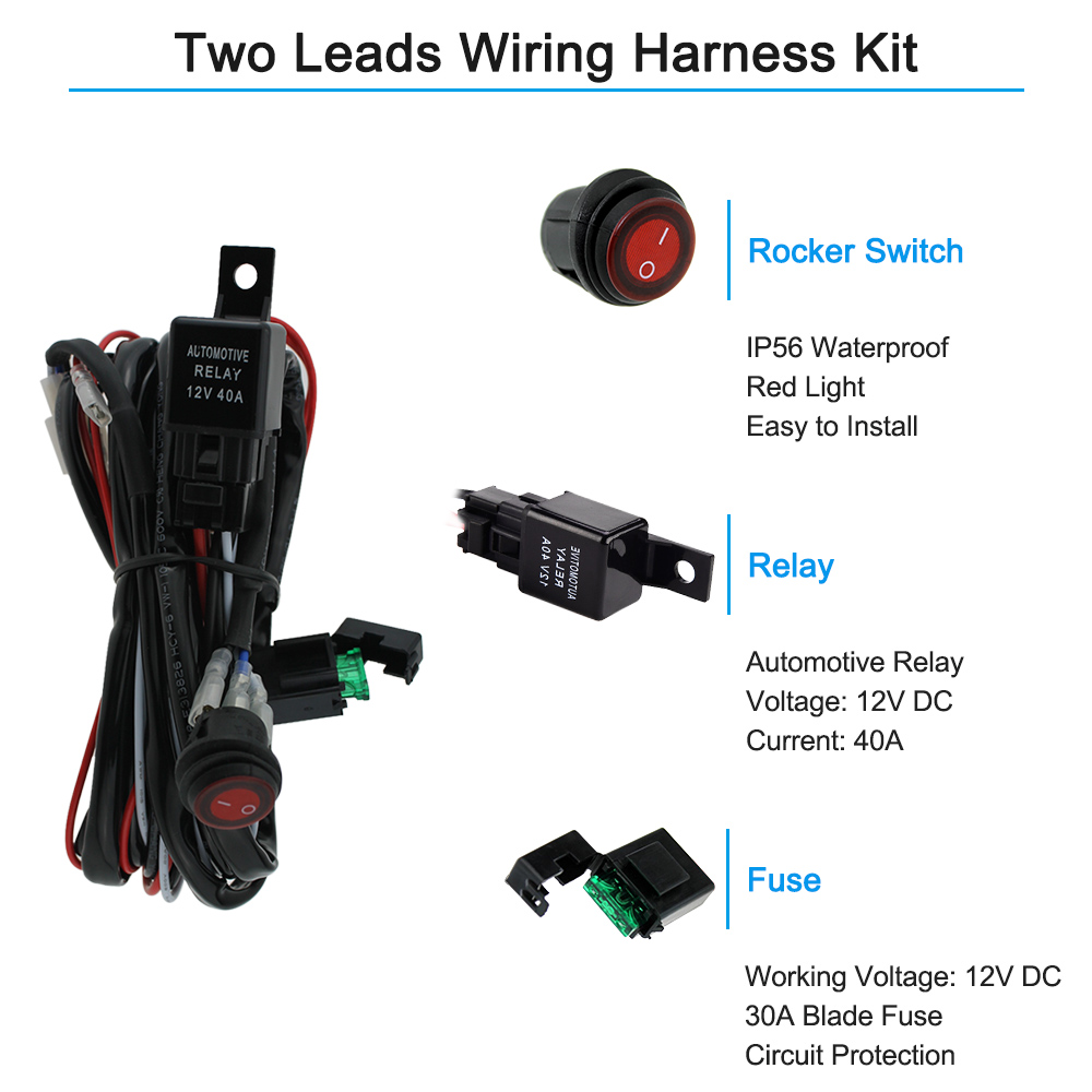 Boat Wiring Harness Kit 23 Diagram Images Diagrams Dc 12v Car Bus Rv Off Road Led Light Bar 40a Relay