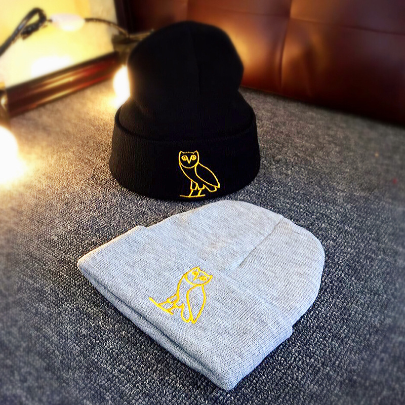 Black Gray Knit Cartoon Owl Embroidery   Beanies   For Men Women Fashion Knitted Winter Hat Solid Color Hip-hop   Skullies   Hat