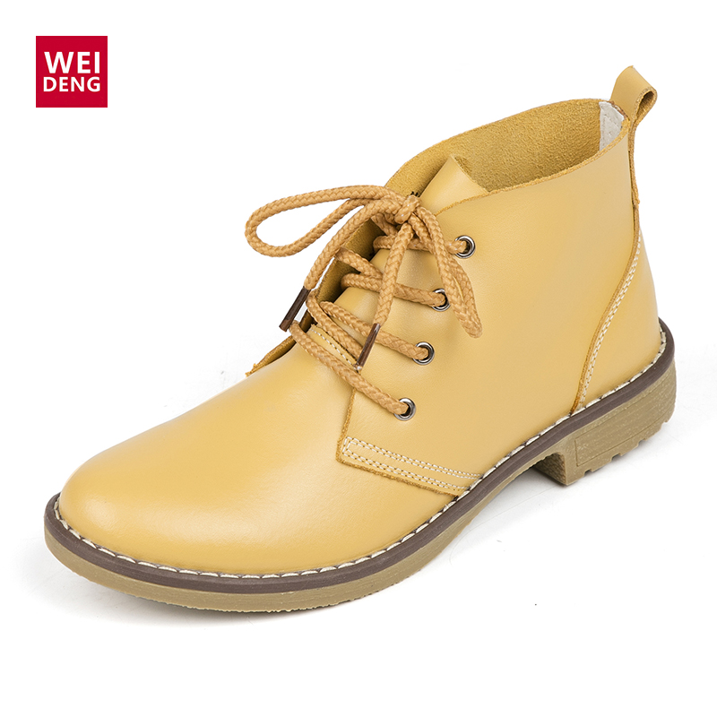 4 Color Fashion Women Winte Lace up Genuine Leather Classic Shoe High Style Flat Brand Casual Shoes Boots 2016