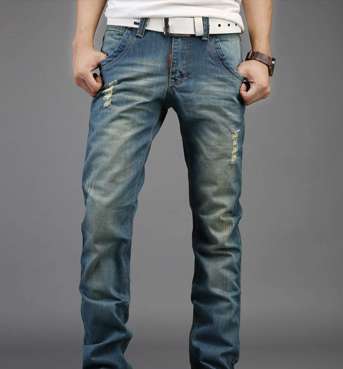 ФОТО 2017 New Mens Distressed Jeans Ripped Slim Straight Pants Darked Wash Jeans Male Hole Baggy Vintage Denim Casual Pant Trousers