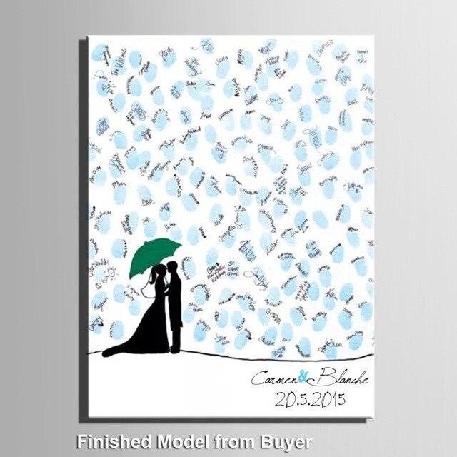 Under the umbrella of free customization bride and groom fingerprint DIY sign in European wedding finger decoration