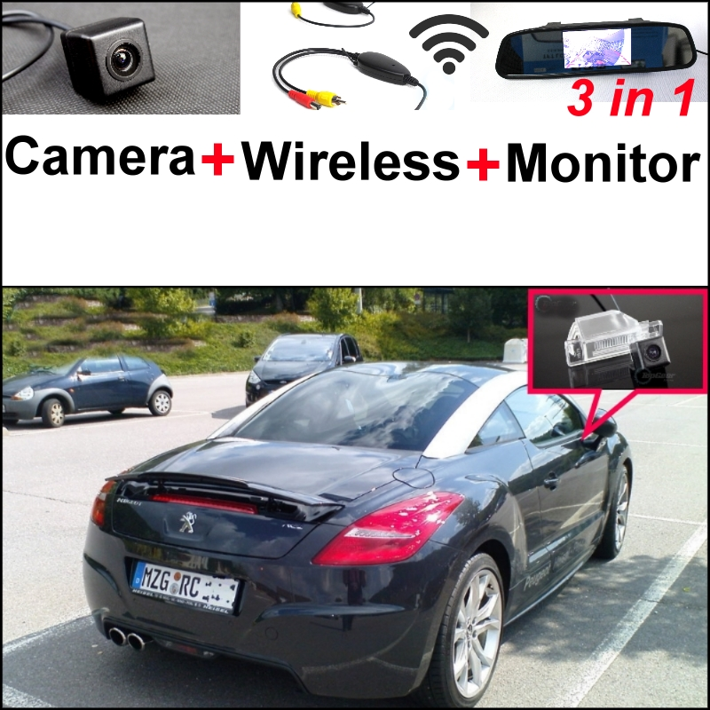 For Peugeot RCZ 2009~2015 3 in1 Special Rear View Camera + Wireless Receiver + Mirror Monitor Easy DIY Parking System candice guo plush toy stuffed doll funny cartoon creative spongebob patrick star novelty children story birthday gift christmas