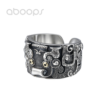 Wide 925 Sterling Silver Chinese Mythical Creature TAOTIE Ring for Men Boys Adjustable Size 8-10.5 Free Shipping недорого