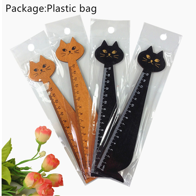 24 개/몫 빈티지 귀여운 동물 나무 눈금자 사랑스러운 고양이 모양 눈금자 선물 학교 용품 문구 용품 도매