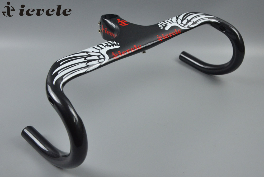 2017 ievele Full Carbon fibre Integrated Road Bicycle Handlebar Cycling Bike Parts Road Handlebars With Stem 28.6mm 335g gloss road handlebar carbon bar bicycle handlebars cycling bicycle integrated bars carbon handlebar bike accessories computer mount