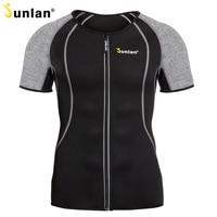 Junlan Body Shaper for Men Neoprene Slimming Shapewear Elastic Sauna Suit Male Waist Trainer T Shirt for Weight Loss Control