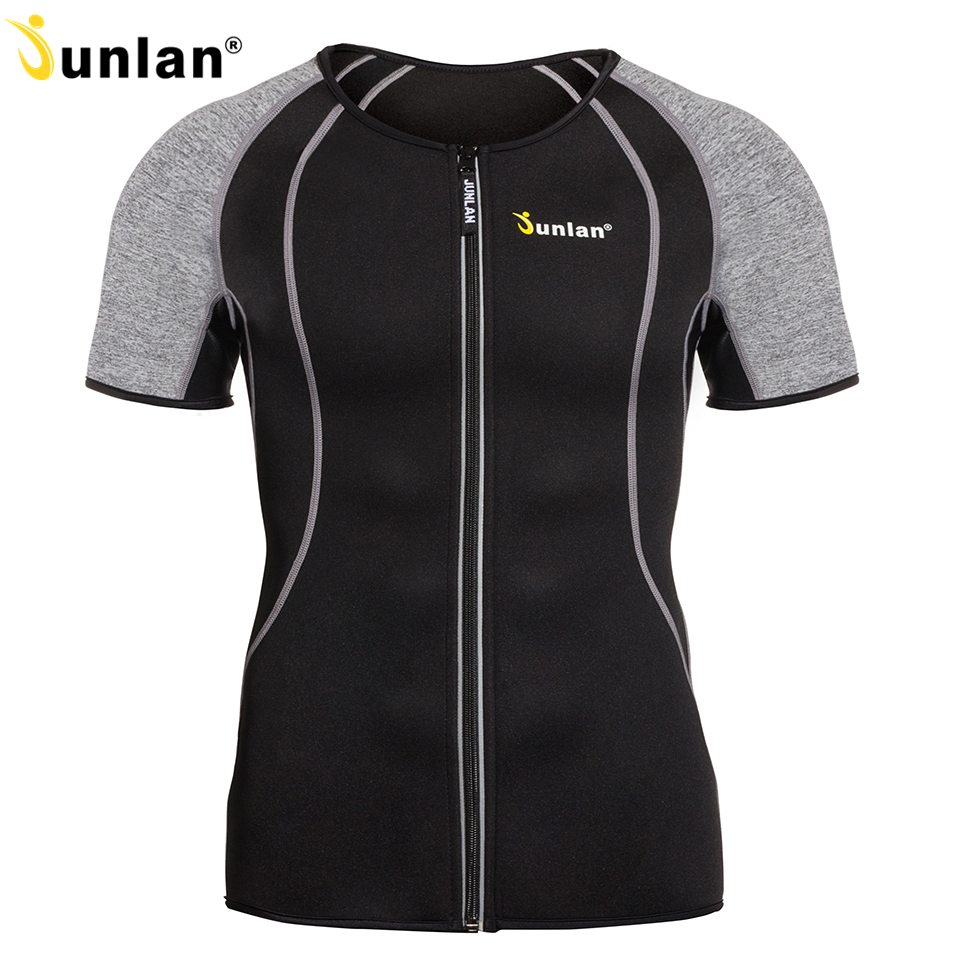 Shaper do corpo de junlan para homens neoprene emagrecimento shapewear elástico sauna terno masculino treinador de cintura t camisa para controle de perda de peso