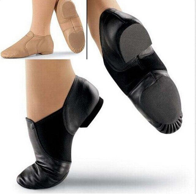 4ab495135523 NEW Capezio Balera Slip on Leather Jazz Shoes Caramel Tan Black ...