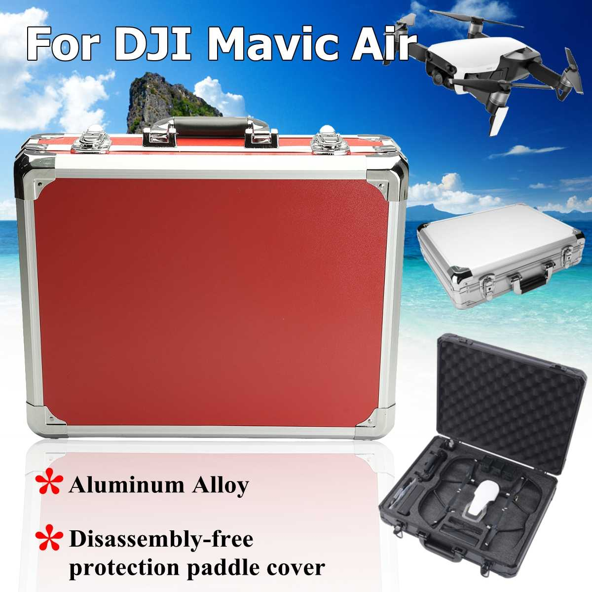 a Red black silver platinum large capaweight Aluminum alloy plus MDF Carrying Case for DJI Mavic Air in Black