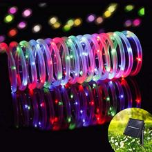 LED Outdoor Solar Lamp LEDs String Lights Fairy Holiday Christmas Party Solar Lamp Outdoor Ground Decoration Tube Light