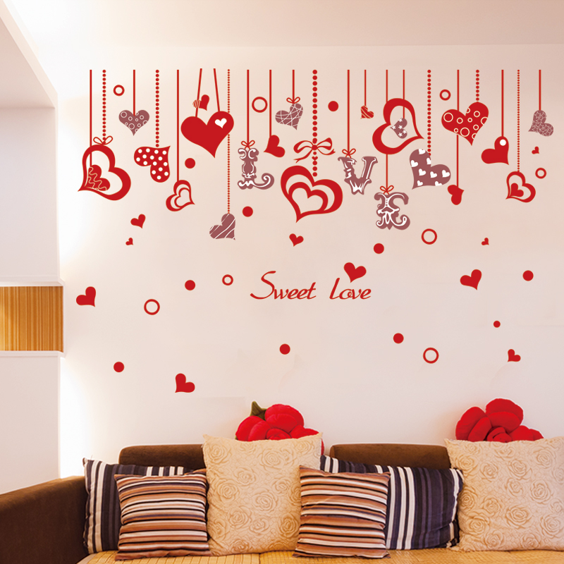shijuehezi] love wall sticker red color sweet love curtains pattern