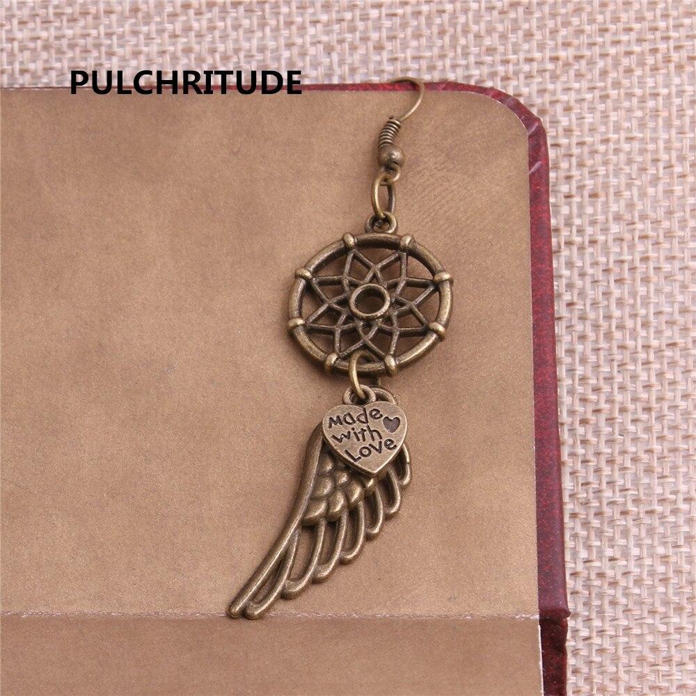 PULCHRITUDE 10 pcs/lot Metal Antique Bronze Silver Tree Feather Blue Dream Catcher Pendant Earring Jewelry Making Diy C0212