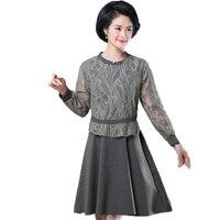 WAEOLSA Mature Women Elegant Dresses Lace Patchwork One Piece Black Gray Dress Office Lady Smart Casual Dress Spring Robe Plus