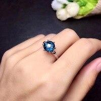 Природный Голубой топаз кольцо Бесплатная доставка натуральной Голубой топаз 925 серебро Fine jewelry 8 мм