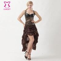 Corzzet Vintage Brown Stripes Faux Leather Steel Boned Underbust Corset Dress Body Shaper Women Costume Steampunk