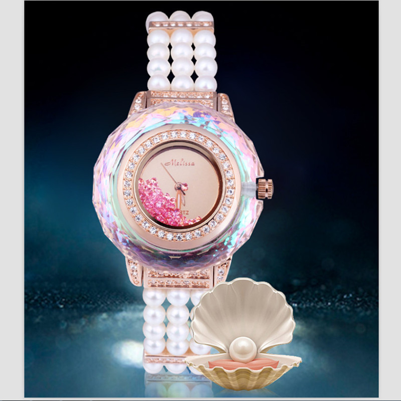 Марка Мелисса Для женщин великолепные ювелирные часы Роскошные элегантные жемчуг браслет часы Кристалл платье наручные часы перемещение п