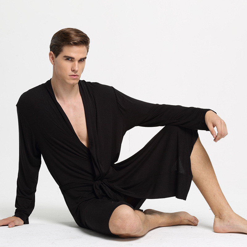 New Plus Size Men Casual Breathable Soft Modal Bath Robes Lounge Homewear Sleep Robe Set Men's Bathrobe Sets M18303