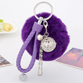 Metal Bell Keychain Leather Rope Keychain Fur Keychain  Fur Pompom KeyChain Pompon Keyring Porte Clef Charm Woman Bag Pendant