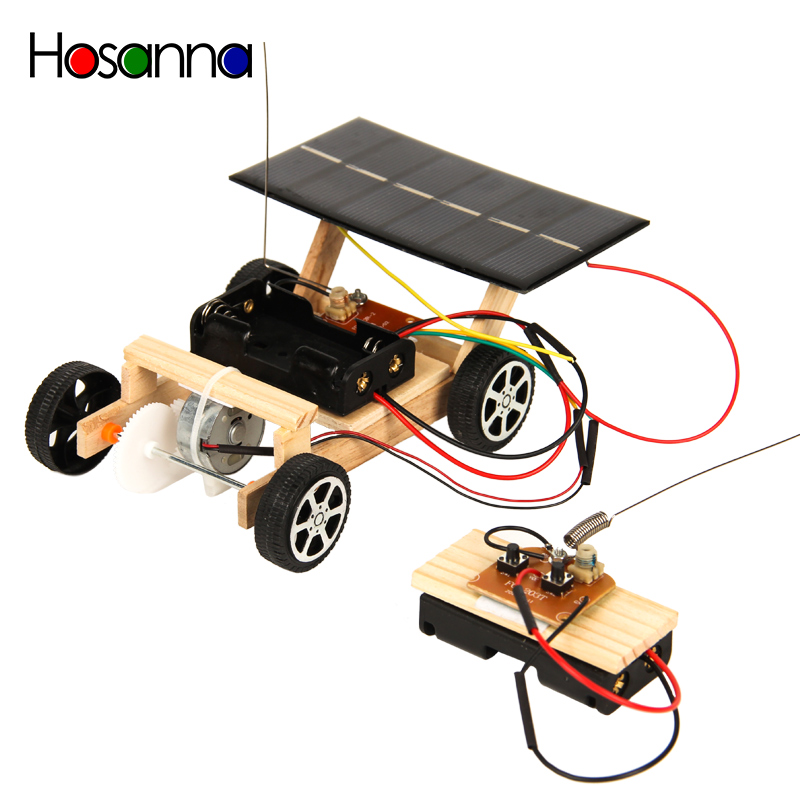 Kids Blocks DIY Wooden Car Model Kit Remote Control Solar Energy Science Toys Learning Educational Toys For Children Boys 4 Year