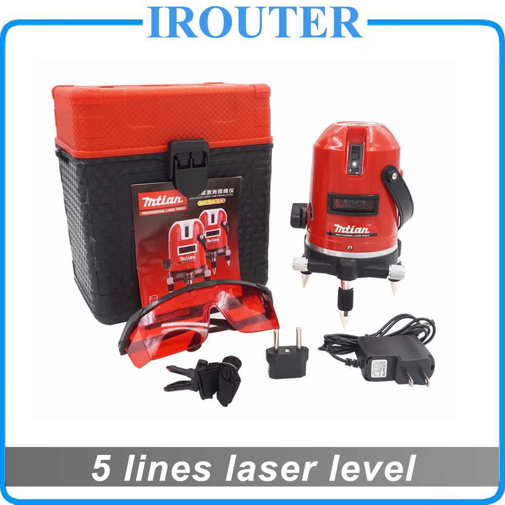 Mtian , 2017 new model , 5 lines 6 points laser level 360 rotary cross laser line leveling with outdoor model , laserlevel 1pc laser cast line machine multifunction laser line cross line laser rotary laser level 360 selfing leveling 5 line 4v1h3 point