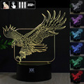 Eagle 3D Night Light RGB Changeable Mood Lamp LED Light DC 5V USB Decorative Table Lamp Get a free remote control