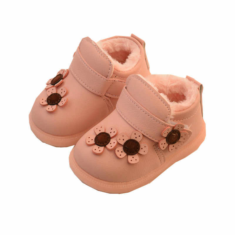 2018 Baby Boots Winter Girls Red Shoes Flowers Thick Plush Princess Pu  Leather Ankle Boots Soft ff82ac171a63