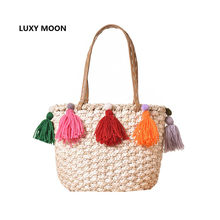 Summer Boho Basket Beach Bag Colorful Tassel Corn Woven Straw Handbags Market Shopping Totes Large Shoulder Bags for Women L211