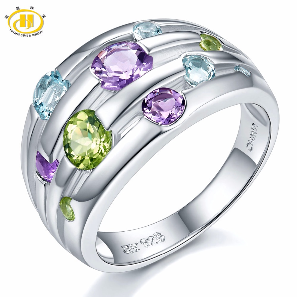 Hutang Natural Amethyst Wedding Rings Peridot Topaz Solid 925 Sterling Silver Gemstone Ring Fine Stone Jewelry For Women Girls