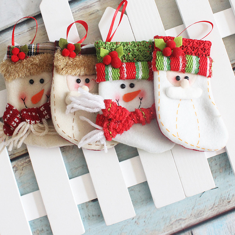 lovely small christmas socks decoration hanging christmas stockings decoration gift candy cookies bags gift holders containers in stockings gift holders - Small Christmas Stocking Decorations
