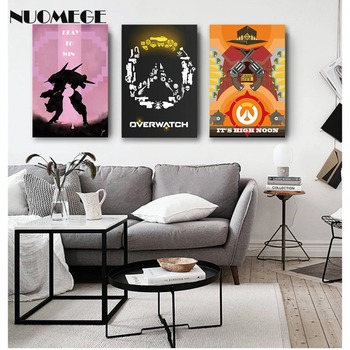 NUOMEGE Overwatchs Game Artwork Silk Canvas Art Poster Paintings Print Wall Pictures For Living Room Home Decoration Unframe