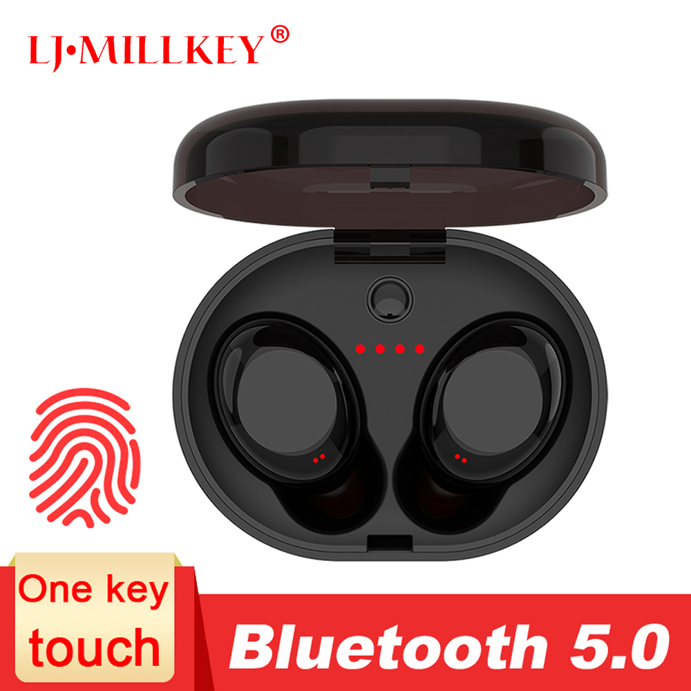 Auriculares Bluetooth TWS 5,0 con Control táctil música estéreo en la oreja tipo IPX6 auriculares inalámbricos impermeables con caja de carga YZ213