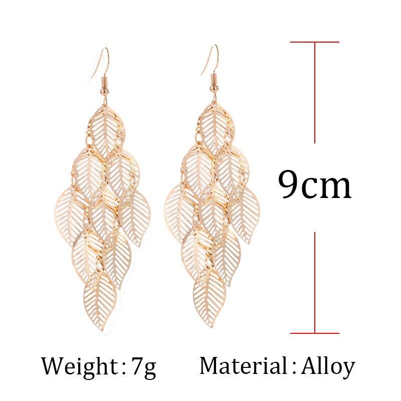 Fashion Hollow Flower Gold Color Leaf Drop Dangling Earrings pendientes Jewelry Wedding Bridal Tassel Long Earrings for women 4