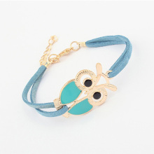 Trendy Handmade Leather Bracelets Women Vintage Lovely Totem Owl Bracelets Jewelry Braided Rope Wristband Stretch Bracelets