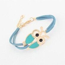 Trendy Handmade Leather Bracelets Women Vintage Lovely Totem Owl Bracelets Jewelry Braided Rope Wristband Stretch Bracelets