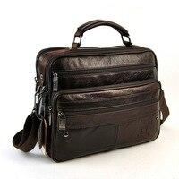 Men Genuine Real Leather Shoulder Bag Classic 6 Zip Multi Compartment Messenger Cross Body Retro Satchel Practical Vintage Bags