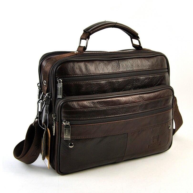 где купить Men Genuine Real Leather Shoulder Bag Classic 6 Zip Multi Compartment Messenger Cross Body Retro Satchel Practical Vintage Bags по лучшей цене