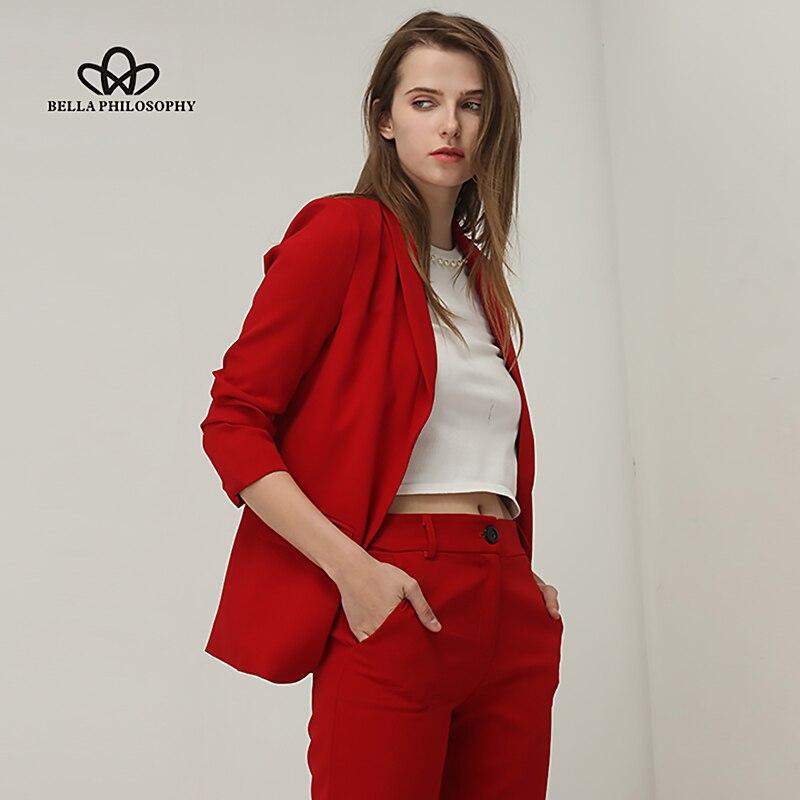 Bella Philosohy 2018 Spring Fashion Red Blazer Women OL Puff Sleeve Workwear Blazer Coat No Button Three Quarter Ladies Outwears 1