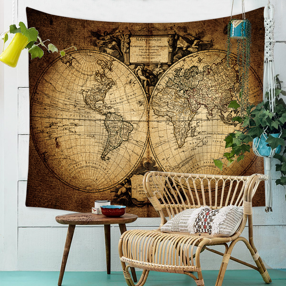Vintage Retro Classic World Map Earth Watercolor Tapestry ...