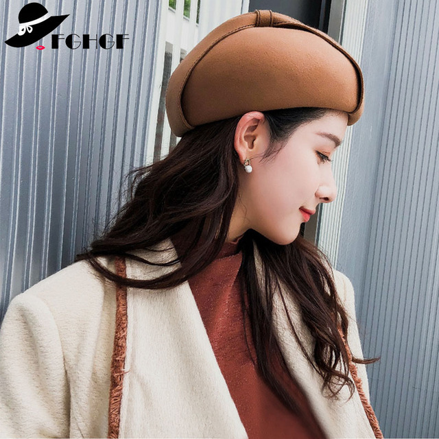 f3977fd5eba71 FGHGF 2018 New Winter Wool Cap Women Hat Fashion Bow French Beret Hat  Classical Lady Gatsby Style Caps in Black Camel Mix White