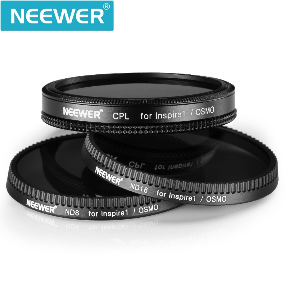 Neewer 3Pcs Filter Set for DJI OSMO Inspire 1 Polarizer Filter ND8 Neutral Density Filter ND16