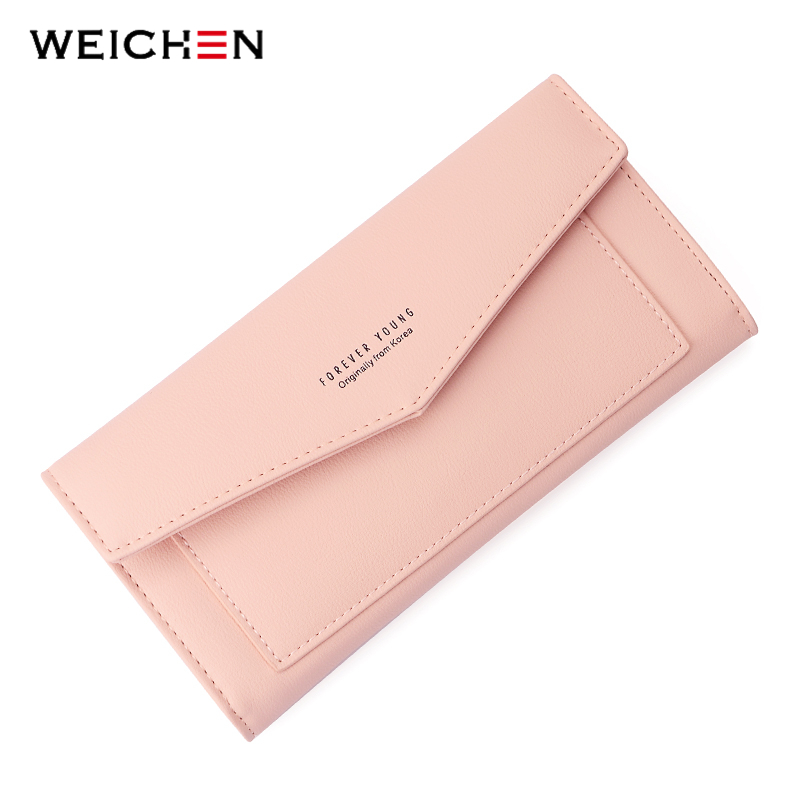 WEICHEN New Style Envelope Designer Clutch Wallets For Women Zipper Pocket To Coin Card Holder Female Purses Long Wallet Ladies