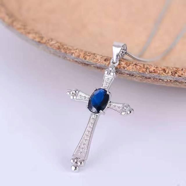 Vintage cross necklace pendant 5*7mm natural dark blue sapphire gemstone cross pendant solid 925 silver sapphire pendant