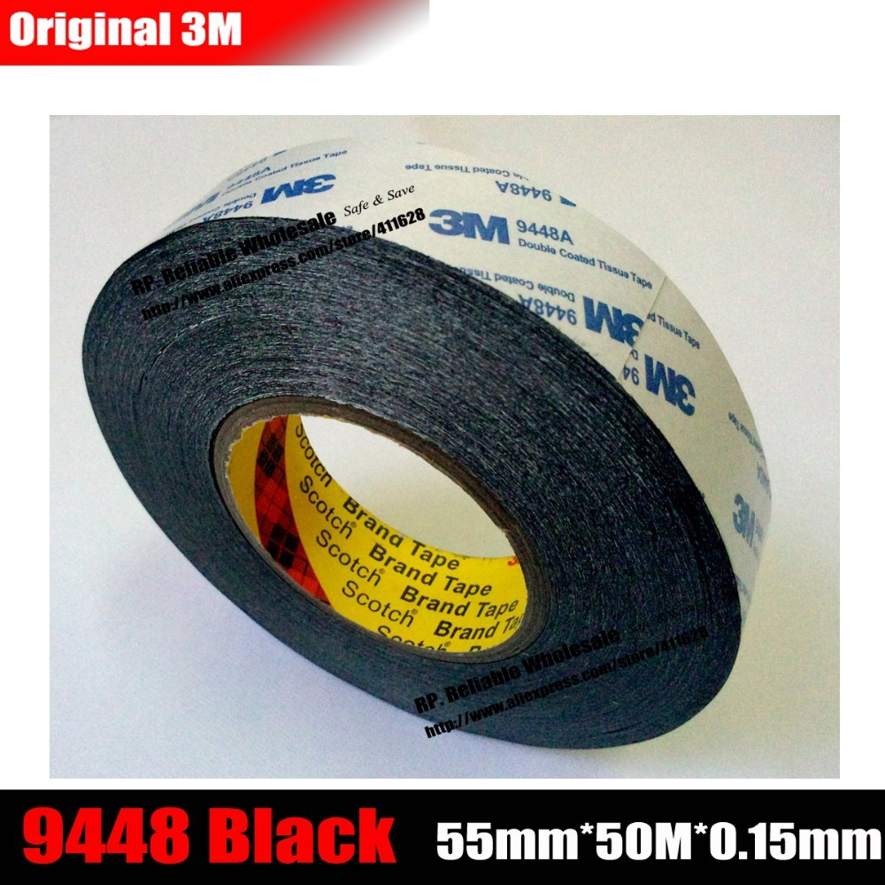(55mm*50M*0.15mm) 3M Double Sided Adhesive Tape 9448 Black for Foam, Rubber, Frame, Display, Nameplate, High Bong, Heat Resit
