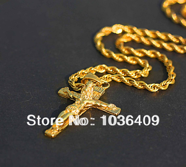 Mens gold color jesus cross pendant necklace chain in pendant mens gold color jesus cross pendant necklace chain aloadofball Gallery