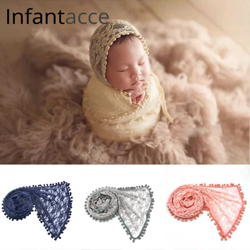 newborn photography props wrap lace pom pom wraps baby photo prop blanket photography accessories infant cute blankets
