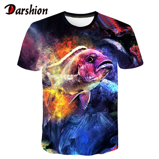 2019 Nova Impressão Digital Lazer 3D Peixe T-shirt Dos Homens Em Torno Do Pescoço T-shirt Do Oceano Engraçado 3d Peixe tshirt Dos Homens Roupas de Verão