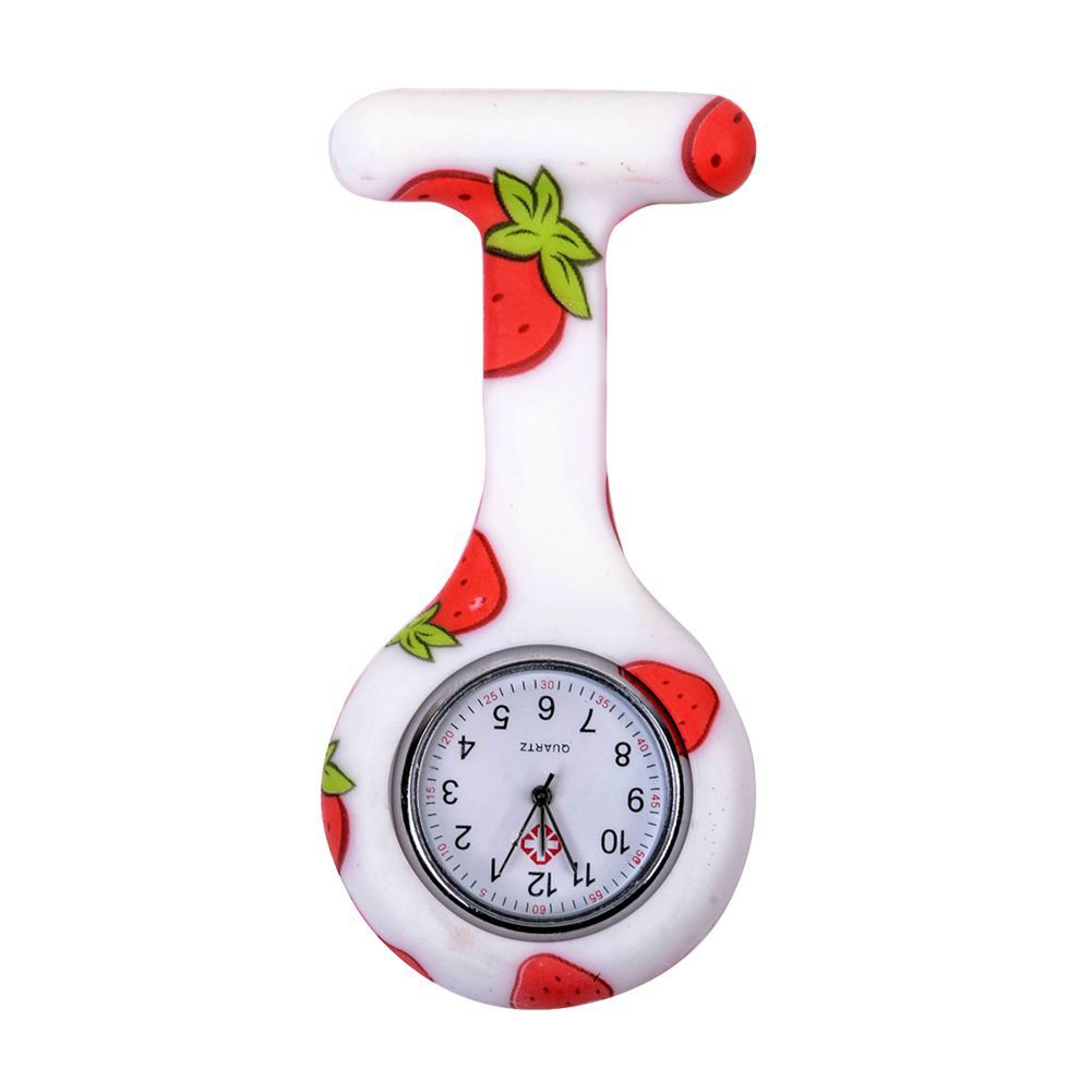 Strawberry Pattern Silicone Nurses Brooch Tunic Fob Pocket Watch Stainless Dial