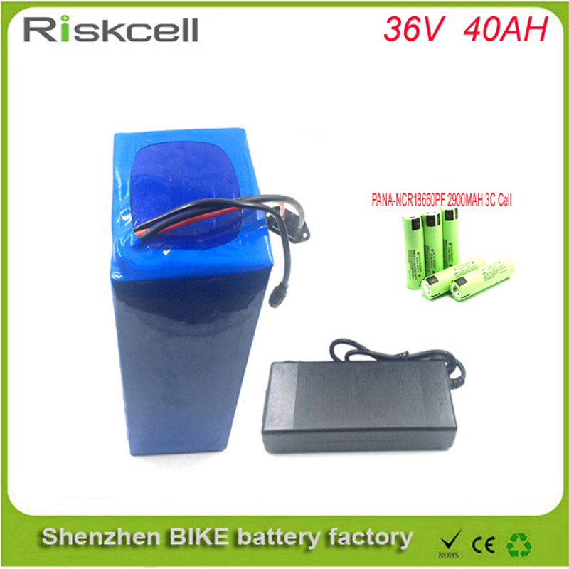 Free shipping 1000W motor Electric bike Lithium Ion Battery 36V 40AH with 42.0V 2A charger and BMS  For Panasonic  cell free customs taxes super power 1000w 48v li ion battery pack with 30a bms 48v 15ah lithium battery pack for panasonic cell
