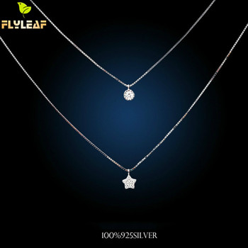 925 Sterling Silver Little Stars Multi-layer Necklaces & Pendants For Women Fashion Cubic Zirconia Jewelry Accessories mossovy korean cubic zirconia butterfly pendant for female fashion popular pendants for women jewelry